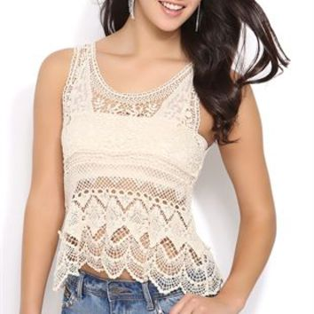 Embroidered Crochet Tank Top with Scalloped Bottom