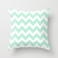 Chevron Mint Green & White Throw Pillow by BeautifulHomes | Society6