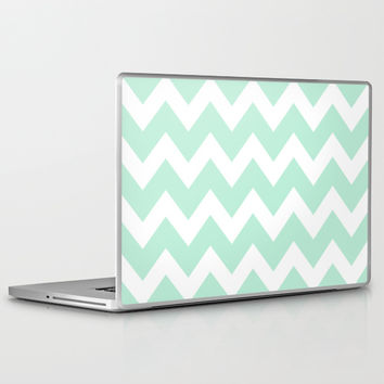 Chevron Mint Green & White Laptop & iPad Skin by BeautifulHomes | Society6