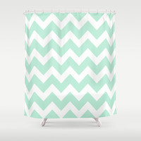 Chevron Mint Green & White Shower Curtain by BeautifulHomes | Society6