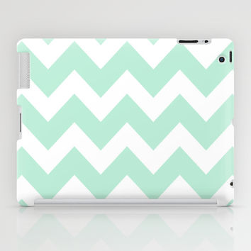 Chevron Mint Green & White iPad Case by BeautifulHomes | Society6