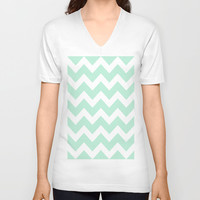 Chevron Mint Green & White V-neck T-shirt by BeautifulHomes | Society6