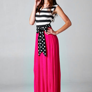 Fuchsia and Stripes Maxi Dress