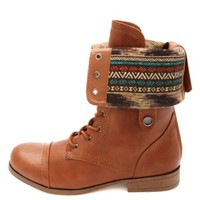 TRIBAL-LINED FOLD-OVER COMBAT BOOTS