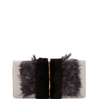 Arc Feather/Fur Clutch Bag, Black/Gray
