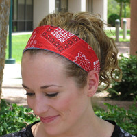 Wide Red Bandana Summer Beach Headband - Reversible