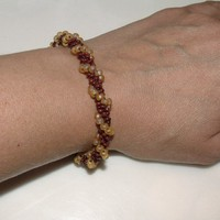 Bead Crochet Bracelet Amber Waves in Brown and Amber by lanmom