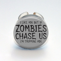 Round Glass Bezel Ring I Like You But If Zombies by IncrediblyHip