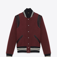 Saint Laurent CLASSIC TEDDY JACKET IN Burgundy WOOL GABARDINE AND Black LEATHER | ysl.com