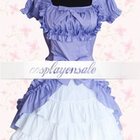 Lolita Costumes Sweet Purple Short Sleeves Cotton Lolita Dress [T110664] - $74.00