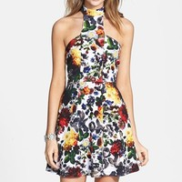 Painted Threads Flower Print Halter Cutout Halter Dress (Juniors)