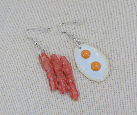Bacon And Eggs Earrings by CuteAbility on Etsy