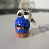 Cookie Monster Cupcake Dangle Earrings by kittygatotreats on Etsy