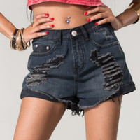 Black distressed high waist Shorts