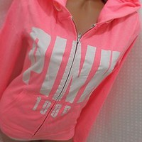 victoria secret PINK HOODIE BEACH COVER-UP MEDIUM WEIGHT NWT! MEDIUM NEON PINK