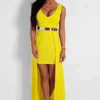 Honey Dew Yellow Maxi Overlay Mini Dress | Pink Boutique