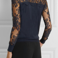 Erdem | Cilla lace-paneled modal-blend sweater | NET-A-PORTER.COM