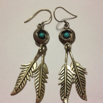 ON SALE Navajo Turquoise Sterling Earrings Shadowbox Feathers 925 Silver Blue Petit Point 40s Vintage Tribal Southwestern Jewelry Gift