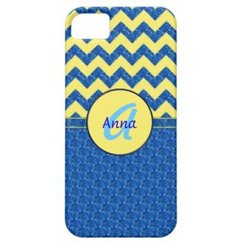 Monogram Blue-Yellow Chevron iPhone 5/5s Case