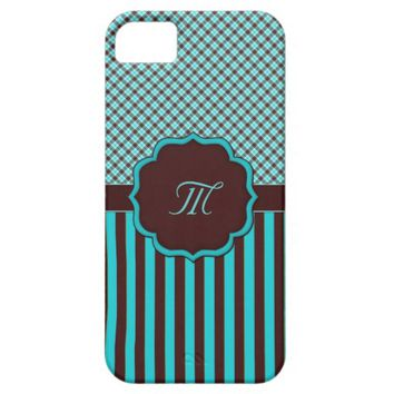 Monogram Tartan Lt Teal, choc iPhone 5/5s Case