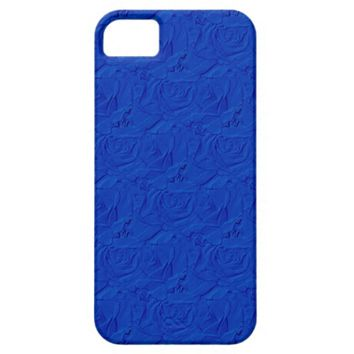 Embossed Roses Blue iPhone 5/5s Barely There