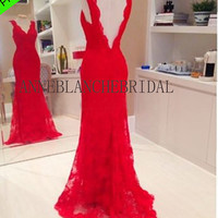 Red lace prom dress open back prom dress low backless prom evening dress party dress club dress v line dress