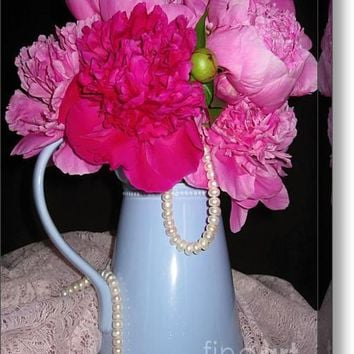 Peonies Pearls And Lace Acrylic Print