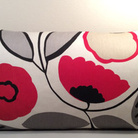 "Handmade Pillow Cover - Modern Flower Print - READY TO SHIP - 12"" X 20"" Lumbar pillow in black red and cream"