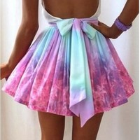 Women FULL-SKIRTED tie dye skater skirt Irregular galaxy sexy Skirts Mini skirt