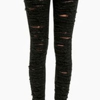 Black Destroyed Ripped High Waisted Stretchy Skinny Pencil Jeans Denim Pant