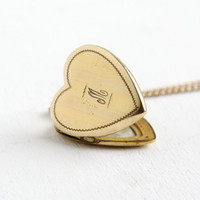 "Vintage Gold Filled Monogrammed ""M"" Heart Locket Necklace- 1940s WWII Era Sweetheart Jewelry with Photo of Navy Man"