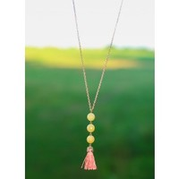 Drop The Ball Necklace-Pale Yellow