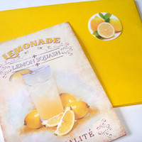 Fresh Lemonade Flat Card Set 3 Cards Envelopes Stickers