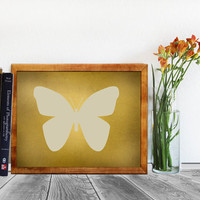Vintage Art Print, Mustard Yellow Butterfly Printable Art, Instant Download, Home Decor, Wall Art