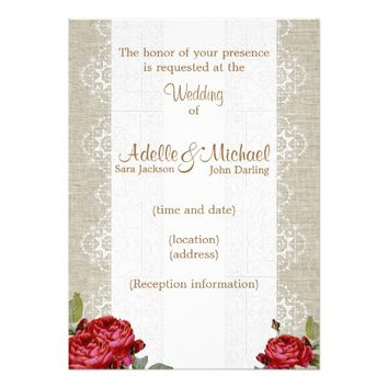 Linen Lace Red Roses Wedding Invitation