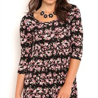 Three Quarter Sleeve Floral Print Babydoll Dress with Lace Trim