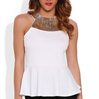 Textured Tank Top with Illusion Back and Chain Link Detailed Neckline