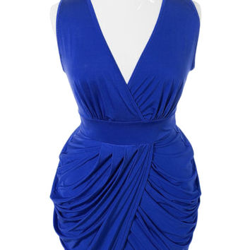 Plus Size V Neck Royal Blue Bubble Dress, Plus Size Clothing, Club Wear, Dresses, Tops, Sexy Trendy Plus Size Women Clothes