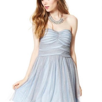 Billie Mesh Strapless Dress - Silver