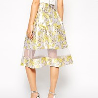 ASOS Premium Skirt In Jacquard With Sheer Hem