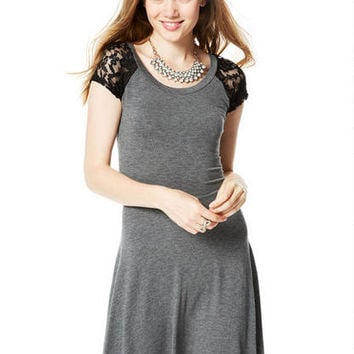 Short-Sleeve Lace Raglan Dress