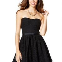 Lace Strapless Ribbon Belt Party Dress - Black