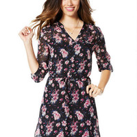 Floral Tie-Front Chiffon Dress