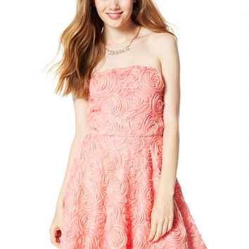 Rosette Soutache Strapless Dress