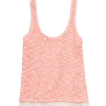 Lace Trim Sweater Knit Tank