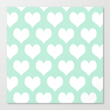 Hearts of Love Mint Green Stretched Canvas by BeautifulHomes | Society6