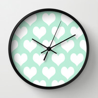 Hearts of Love Mint Green Wall Clock by BeautifulHomes | Society6