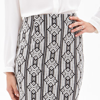 Textured Diamond Print Pencil Skirt