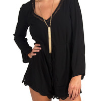 Lush Clothing - Long Sleeve Dottie Scalloped Trim Romper - Black