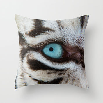 WHITE TIGER BEAUTY Throw Pillow by Catspaws | Society6